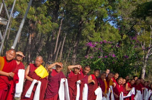 Monks waiting for Dalai Lama, buddist monks, Dharamshala, Himachal Pradesh, Monks, Monks waiting in line, People, tibetan monks, Tokina AT-X Pro SD 12-24mm F4 (IF) DX, travel, travel photography, wide angle lens, Photographer Anurag Jain