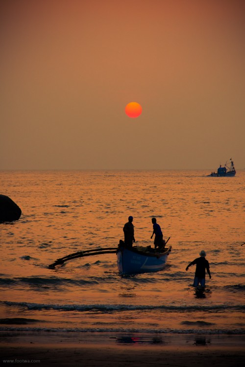 Fishermen at Palolem, Beach, boat, fishermen, fishing activity, Goa, low light, Nature, Palolem, sea, Sunset, Sunset at beach, sunset at palolem, twilight, Photographer Anurag Jain
