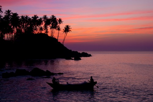 Twilight Colomb beach boat and palm trees, Beach, boat, colomb beach, Goa, twilight, twilight at colomb beach, Photographer Anurag Jain